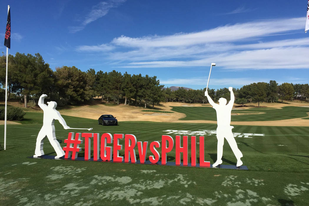 "A promotional sign at Shadow Creek golf course in North Las Vegas ahead of ""The Match"" between Tiger Woods and Phil Mickelson on Friday, November 23, 2018. Brian Hurlburt/Las Vegas Review-Journal ..."