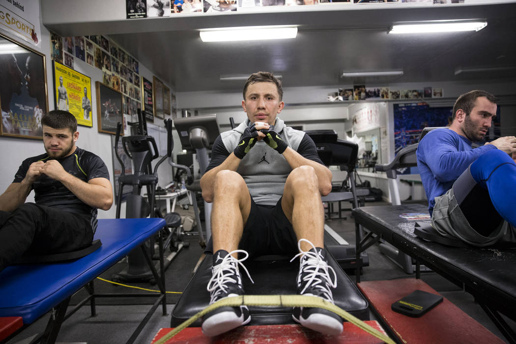Gennady Golovkin, center, with Ruslan Madiev, left, and Murat Gassiev, during a workout at The Summit Gym in Big Bear Lake, Calif., on Wednesday, July 26, 2017. Golovkin is training for his Septem ...