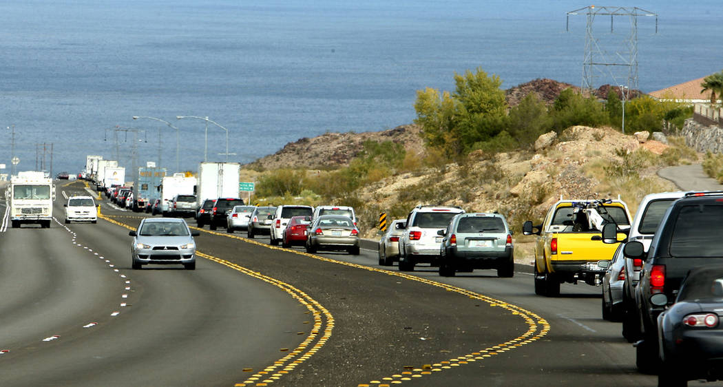 Traffic heads towards Hoover Dam from Boulder City on Highway 93 in 2010 (Las Vegas Review-Journal)