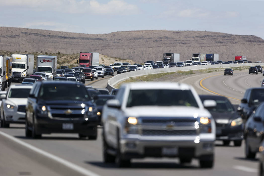 Heavy traffic moves along southbound Interstate 15 near Jean on Monday, May 28, 2018. (Richard Brian Las Vegas Review-Journal @vegasphotograph)