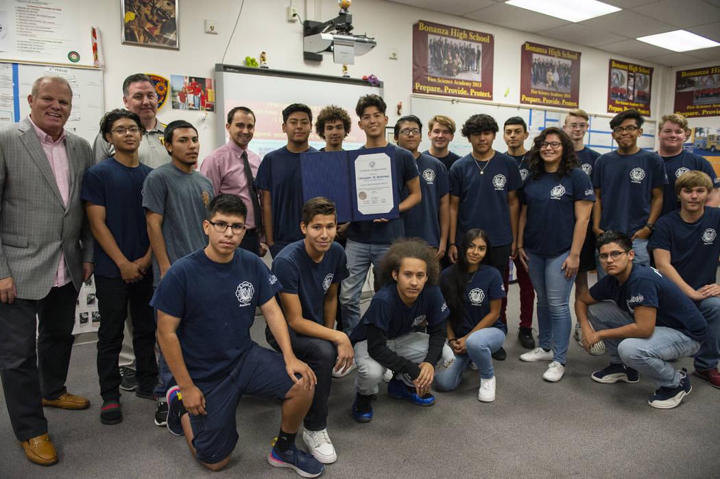 Students at Bonanza High School Fire Science Academy pose for a photograph at Bonanza High School in Las Vegas, Thursday, Oct. 11, 2018. Caroline Brehman/Las Vegas Review-Journal @carolinebrehman
