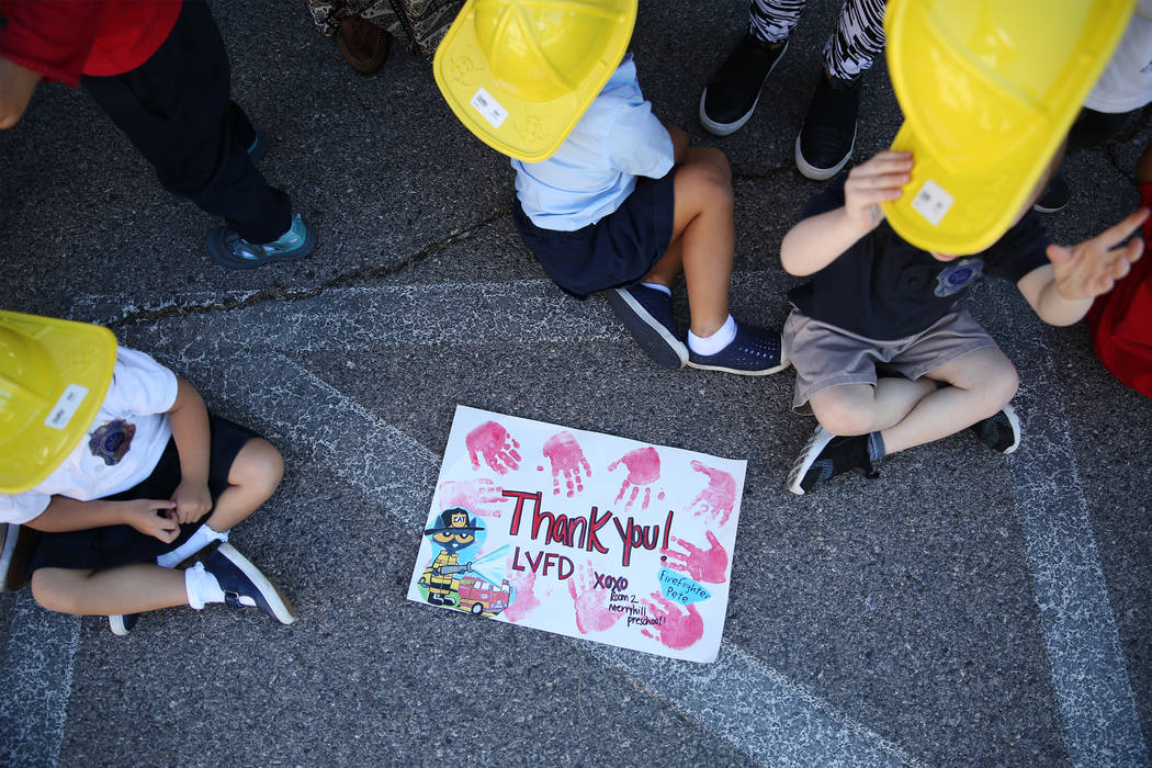A drawing made by children for Clark County Fire Department firefighters during a fire awareness visit at Merryhill Preschool, 5055 S. Durango Dr., in Las Vegas, Wednesday, Oct. 24, 2018. Erik Ver ...