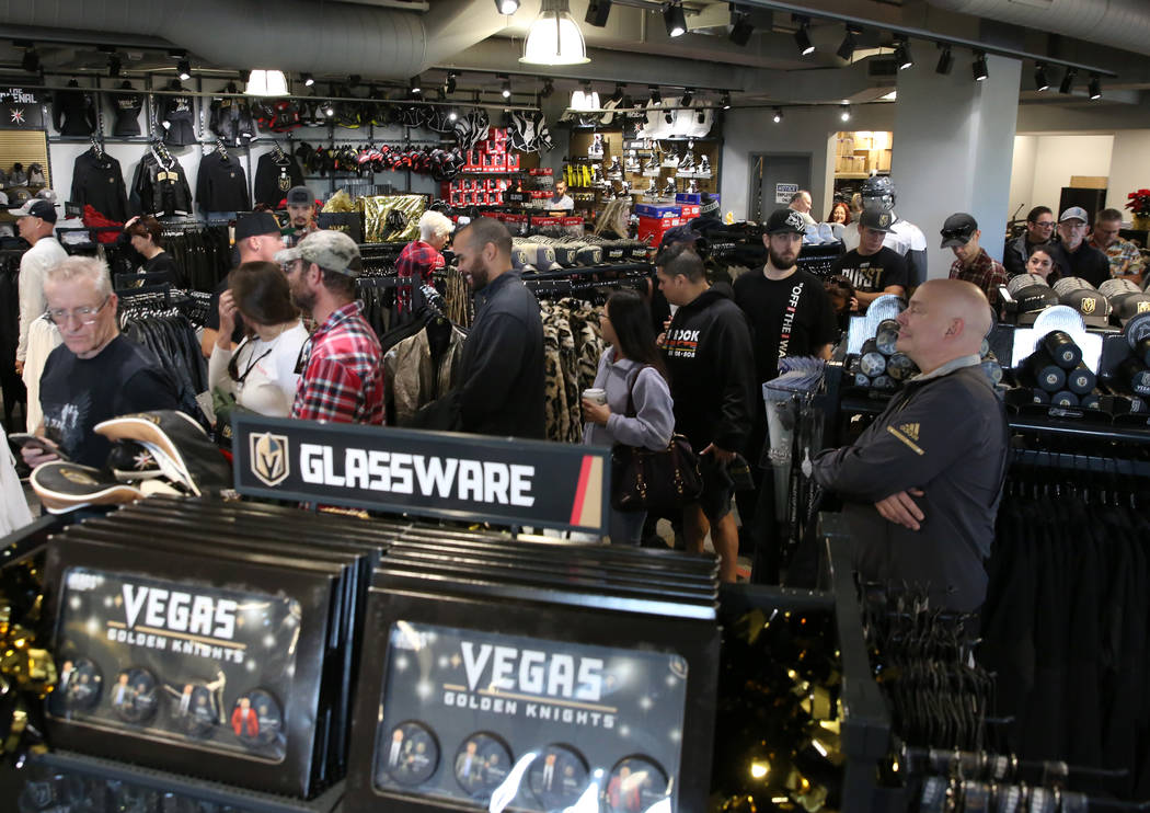 Black Friday sale shoppers lined up to check out at the Arsenal retail store at the City National Arena during Black Friday on Friday, Nov. 23, 2018. Bizuayehu Tesfaye Las Vegas Review-Journal @bi ...