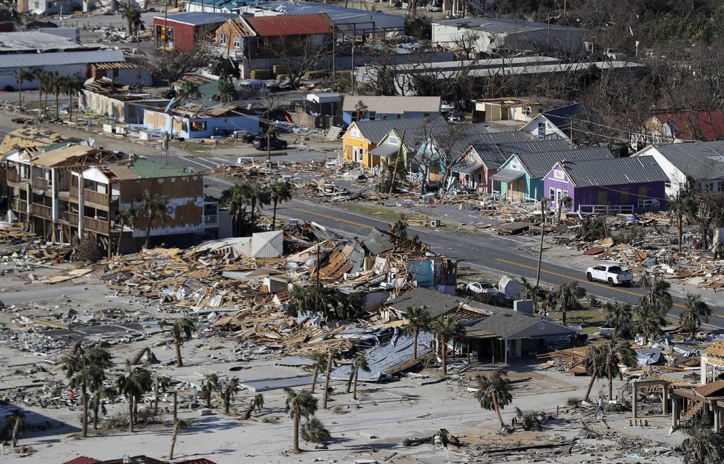 This Oct. 12, 2018 aerial file photo shows devastation from Hurricane Michael over Mexico Beach, Fla. A massive new federal report warns that extreme weather disasters, like California's wildfir ...