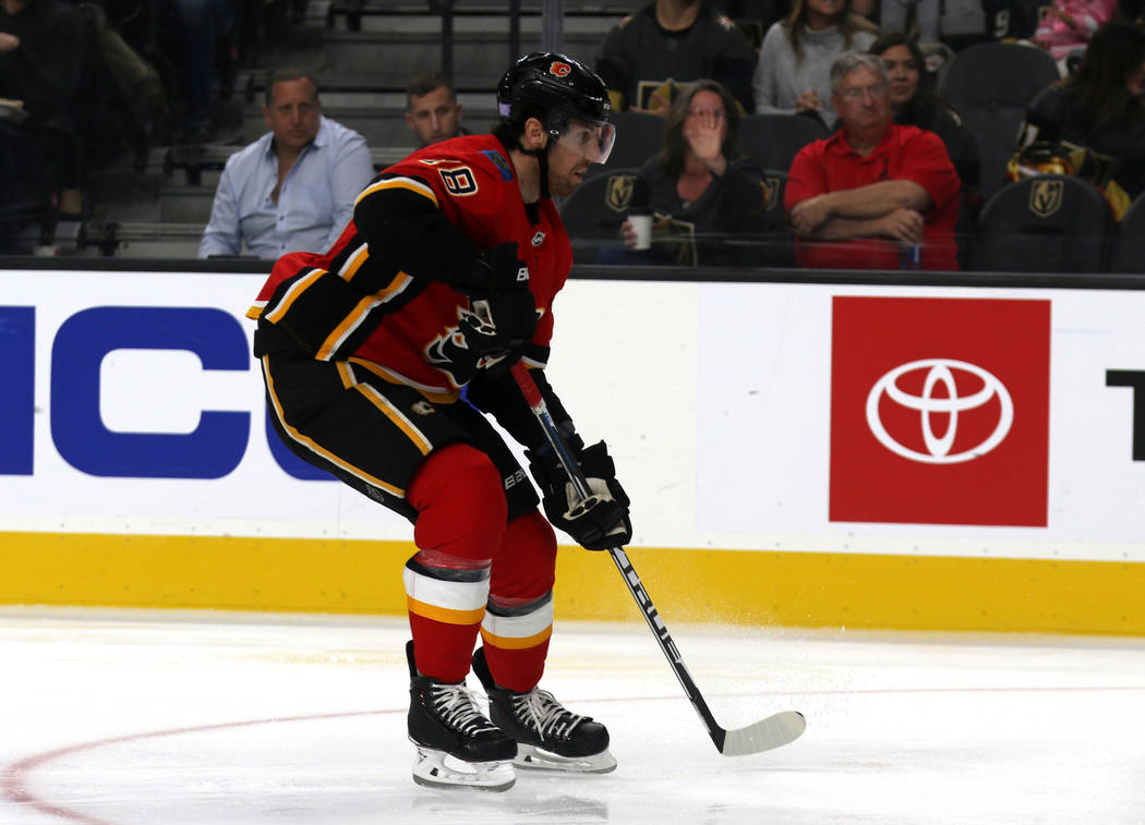 Calgary Flames left wing James Neal (18) on the ice during the first period of an NHL game against the Vegas Golden Knights in Las Vegas, Friday, Nov. 23, 2018. Heidi Fang Las Vegas Review-Journal ...