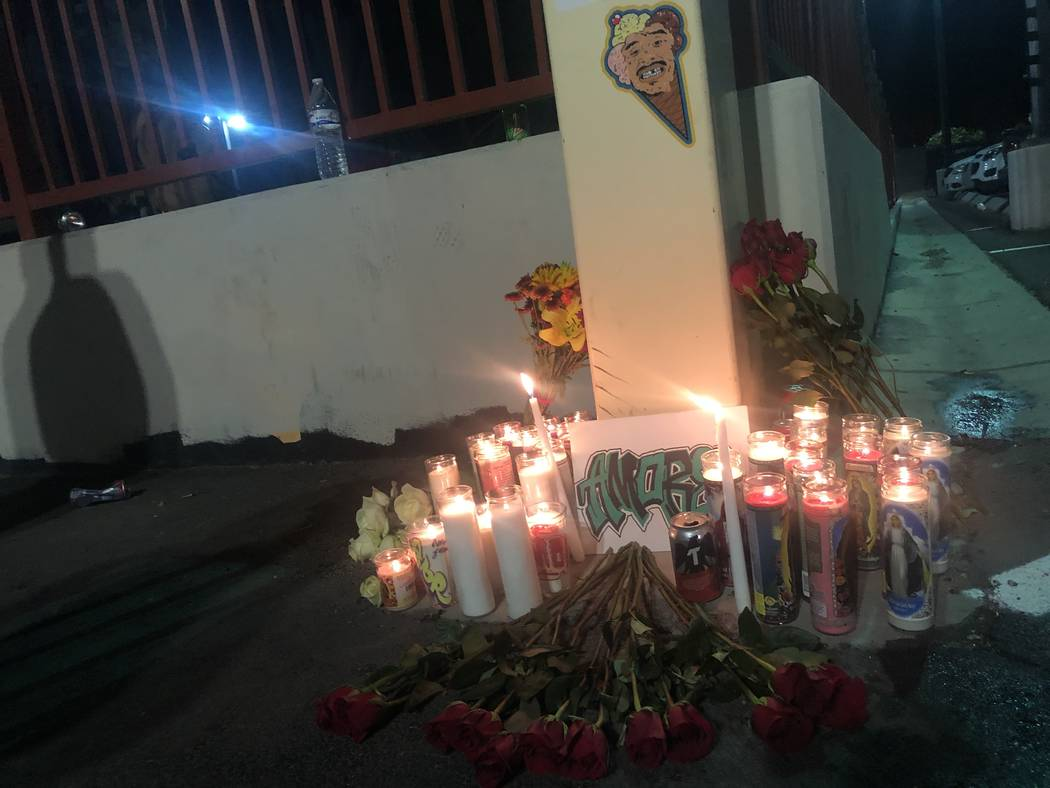 Friends of George Campoverde placed candles, flowers and copies of Campoverde's artwork at the Winchester Cultural Center's skate park in east Las Vegas on Friday, November 23, 2018. Campoverde, 2 ...