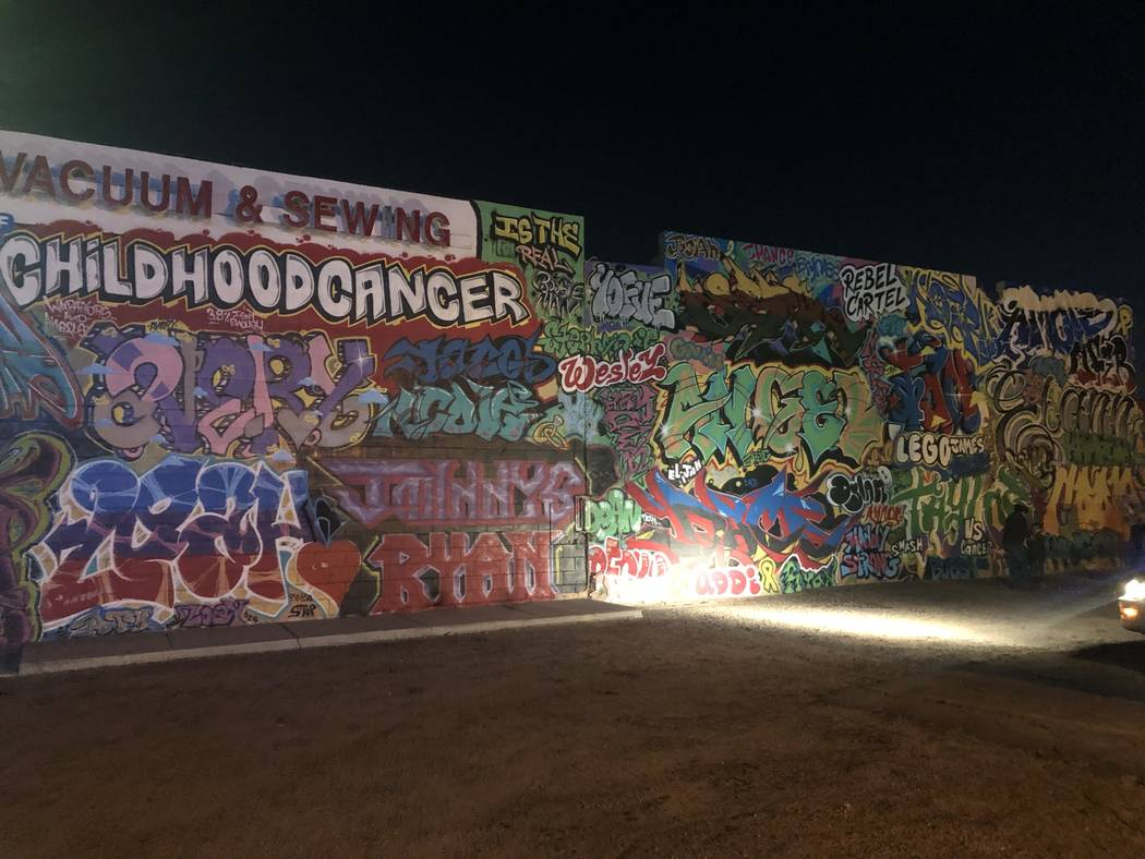 Part of a mural that George Campoverde helped spray paint with the names of children with cancer. A vigil was held for Campoverde at the mural on Saturday, November 24, 2018, after the 29-year-old ...