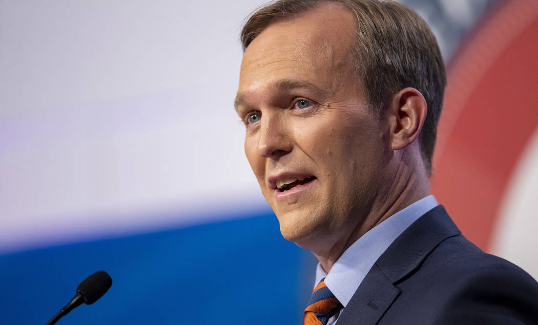 Salt Lake County Mayor Ben McAdams answers a question as he and U.S. Rep. Mia Love participate in a debate in Sandy, Utah, in October 2018. (Scott G Winterton/Deseret News, via AP, Pool, File)