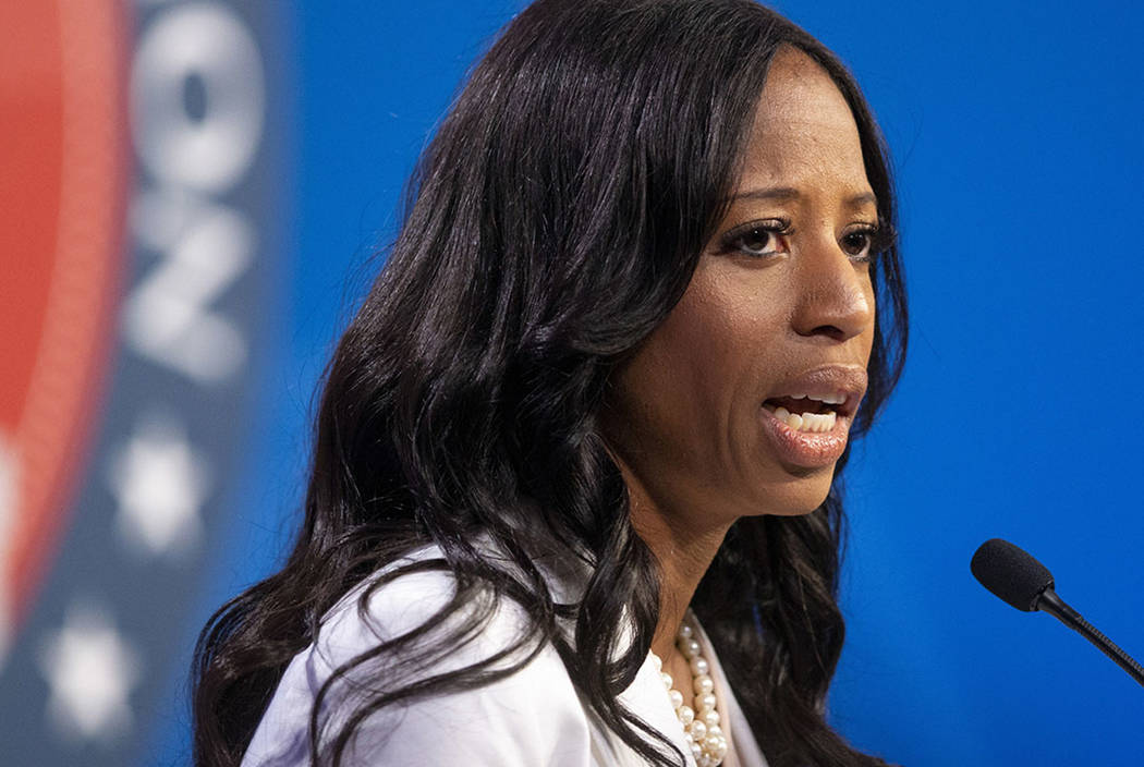 U.S. Rep. Mia Love answers a question as she and Salt Lake County Mayor Ben McAdams participate in a debate in Sandy, Utah, in October 2018. (Scott G Winterton/Deseret News, via AP)