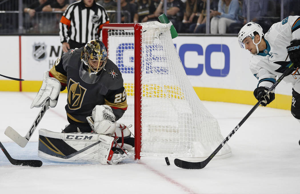 Vegas Golden Knights goaltender Marc-Andre Fleury (29) blocks a shot by San Jose Sharks right wing Kevin Labanc during the first period of a preseason NHL hockey game Sunday, Sept. 30, 2018, in La ...