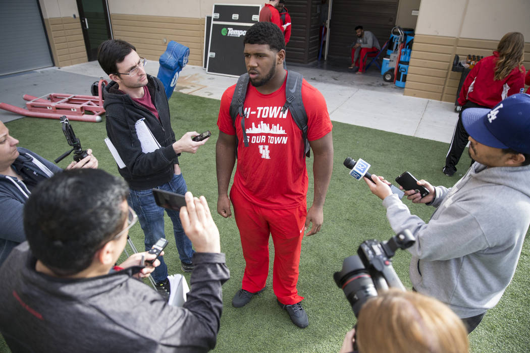 University of Houston football defensive tackle Ed Oliver is interviewed following a team practice at Bishop Gorman High School on Wednesday, Dec. 14, 2016, in Las Vegas. Erik Verduzco/Las Vegas R ...