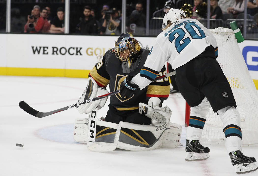 San Jose Sharks left wing Marcus Sorensen (20) attempts a shot on Vegas Golden Knights goaltender Marc-Andre Fleury (29) during the third period of an NHL hockey game Saturday, Nov. 24, 2018, in L ...
