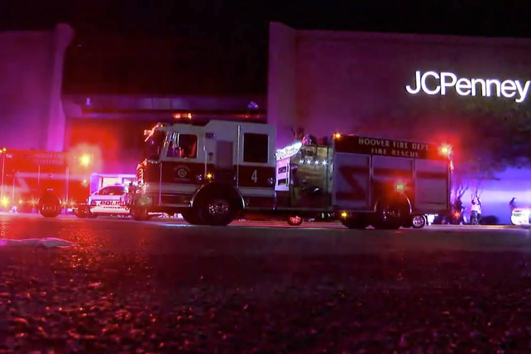 Authorities respond after reports of shots fired at the Riverchase Galleria in Hoover, a Birmingham, Ala., suburb on Thursday, Nov. 22, 2018. A man was shot and killed by police after a fight at t ...