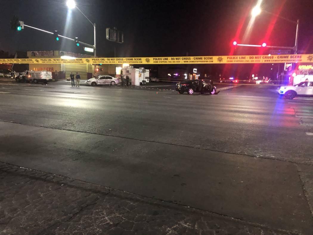 A crash near downtown Las Vegas at about 1:15 p.m. Saturday, November 24, 2018, left a pedestrian with life-threatening injuries. The man's dog was also hit and died at the scene, Las Vegas police ...