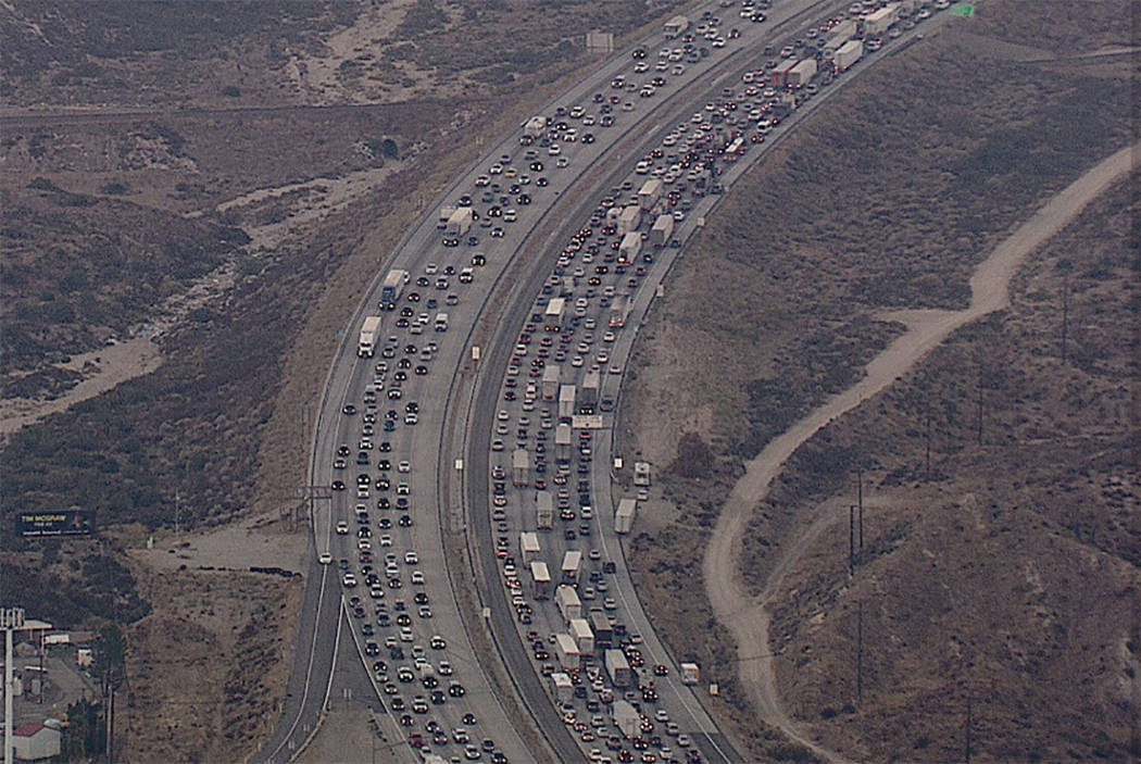 Officials say a crash in the northbound lanes of I-15 has contributed to major traffic jams in Southern California. (Kevin Takumi/FoxLA via Twitter)