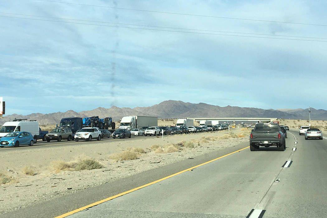 Traffic is backed up on I-15 southbound Sunday, Nov. 25, 2018, as travelers return to California from Las Vegas at the end of Thanksgiving weekend. Photo by Karen Laux.
