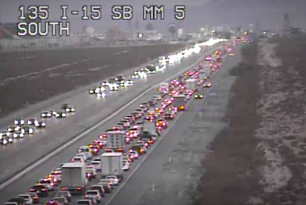 Traffic headed toward California is backed up on I-15 near Primm at 4:30 p.m. on Nov. 25, 2018. (RTC FAST Cameras)