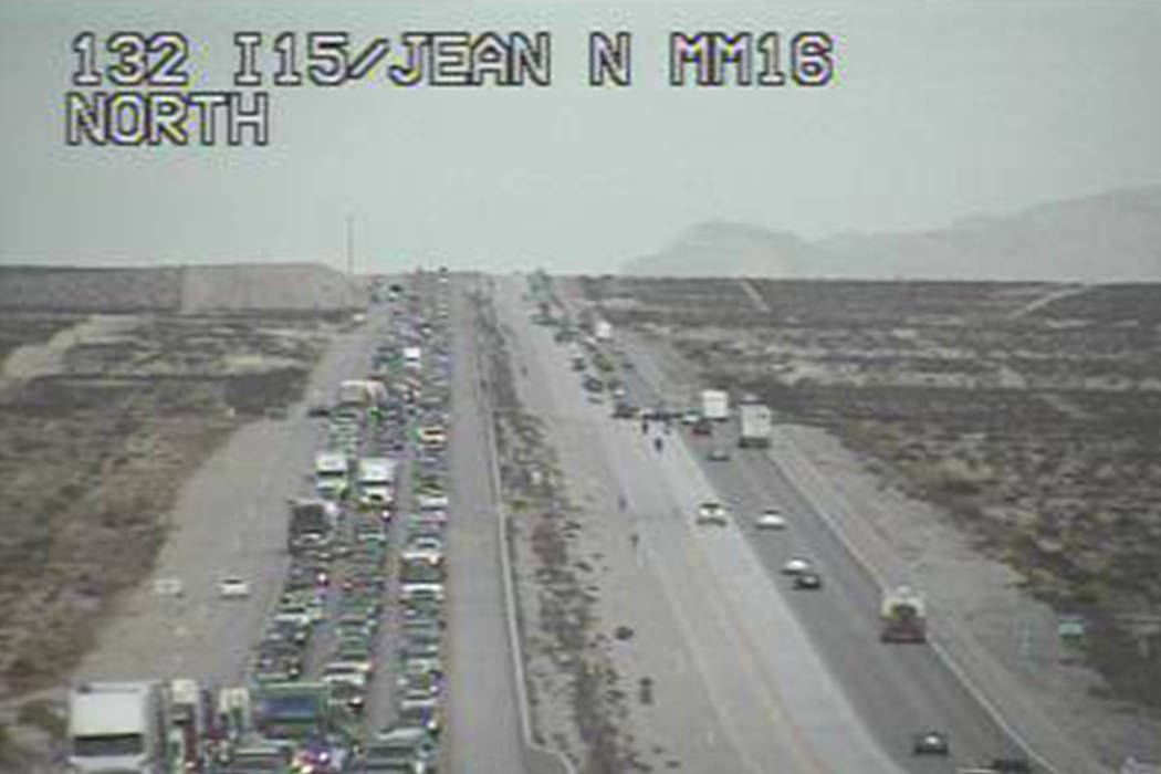 Traffic headed toward California is seen backed up on I-15 at mile marker 16 at 1:50 p.m. RTC.