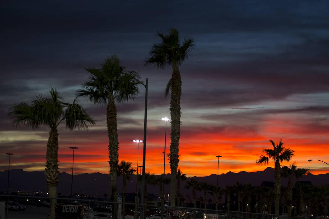 A fiery sunset is seen in Las Vegas. Richard Brian/ Las Vegas Review-Journal @vegasphotograph