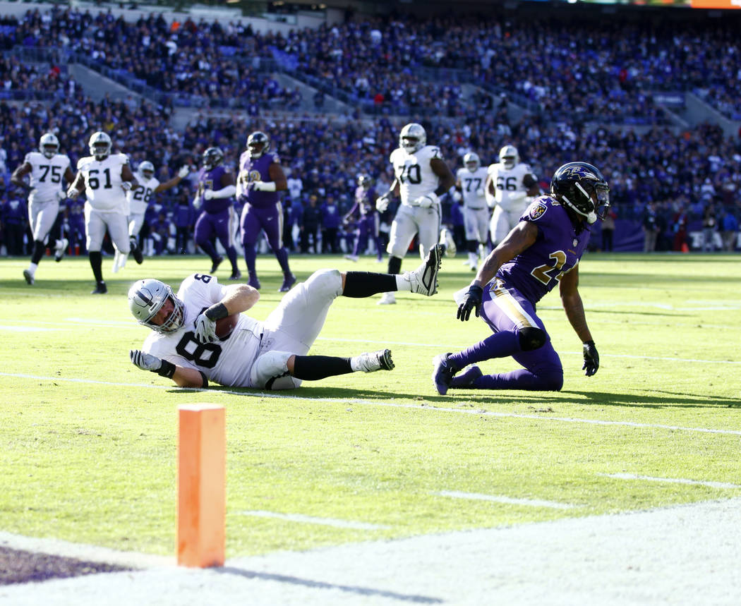 Oakland Raiders tight end Lee Smith (86) is tackled by Baltimore Ravens cornerback Brandon Carr (24) during the first half of an NFL game in Baltimore, Md., Sunday, Nov. 25, 2018. Heidi Fang Las V ...