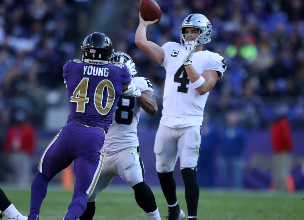 Oakland Raiders quarterback Derek Carr (4) throws the football as running back Doug Martin (28) blocks Baltimore Ravens inside linebacker Kenny Young (40) at the line of scrimmage during the first ...