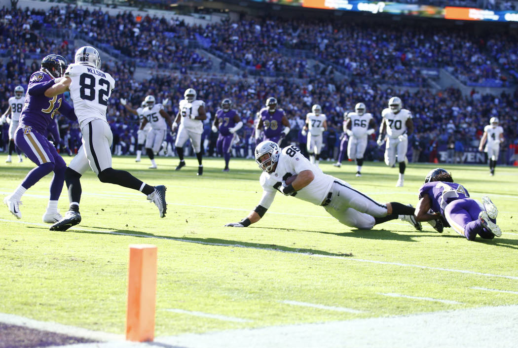 Oakland Raiders tight end Lee Smith (86) is tackled by Baltimore Ravens cornerback Brandon Carr (24) as wide receiver Jordy Nelson (82) blocks free safety Eric Weddle (32) during the first half of ...