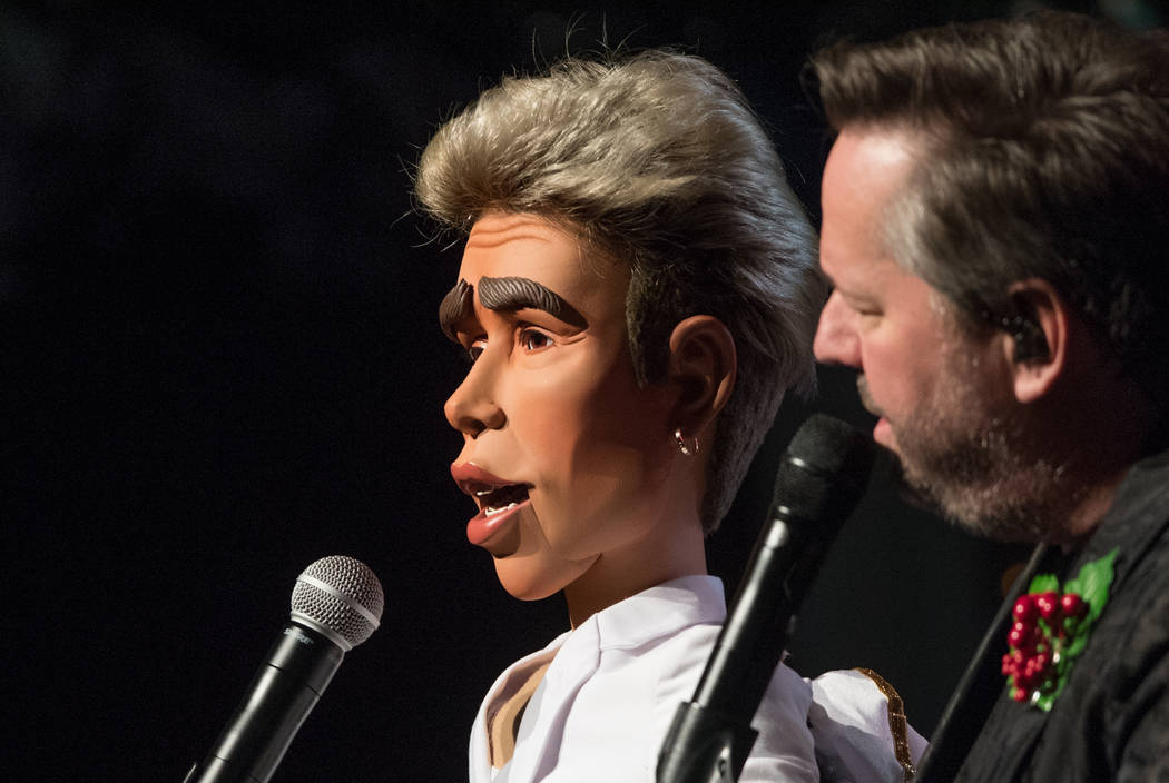 Justin Bieber, in puppet form, is shown with Terry Fator at the Mirage on Friday, Nov. 23, 2018. (Tom Donoghue)