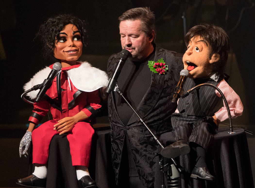 Terry Fator is shown onstage with his Michael Jackson and Paul McCartney characters at the Mirage on Friday, Nov. 23, 2018. (Tom Donoghue)