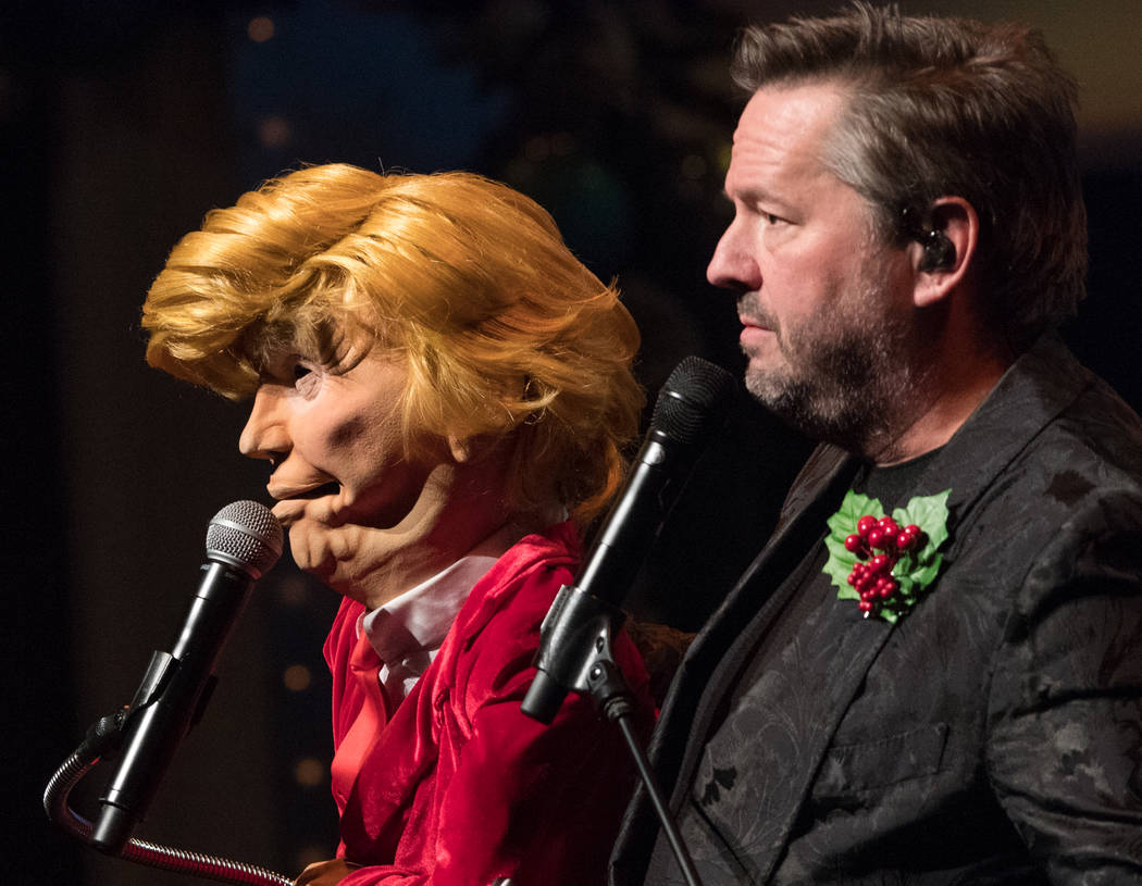 President Trump, in puppet form, is shown with Terry Fator at the Mirage on Friday, Nov. 23, 2018. (Tom Donoghue)