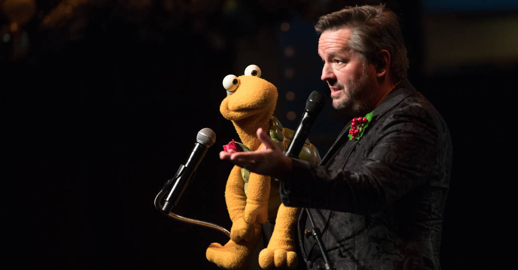Terry Fator is shown onstage with Winston the Impersonating Turtle at the Mirage on Friday, Nov. 23, 2018. (Tom Donoghue)