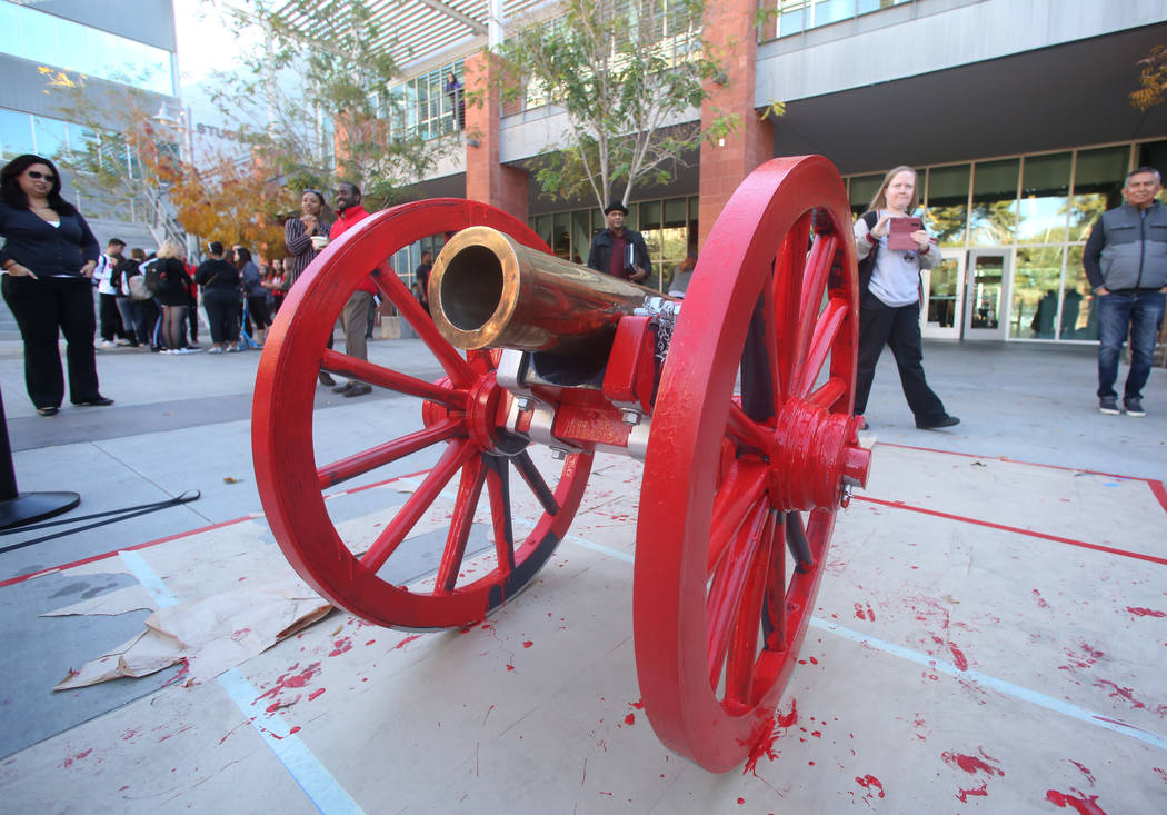 The Fremont Cannon is displayed after being painted red outside of the Student Union at UNLV on Monday, Nov, 26, 2019, in celebration of UNLV's football team victory against in-state rival the Uni ...