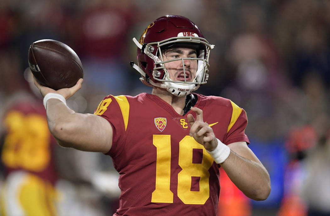 Southern California quarterback JT Daniels throws a pass during the first half of the team's NCAA college football game against Notre Dame Saturday, Nov. 24, 2018, in Los Angeles. (AP Photo/Mark J ...