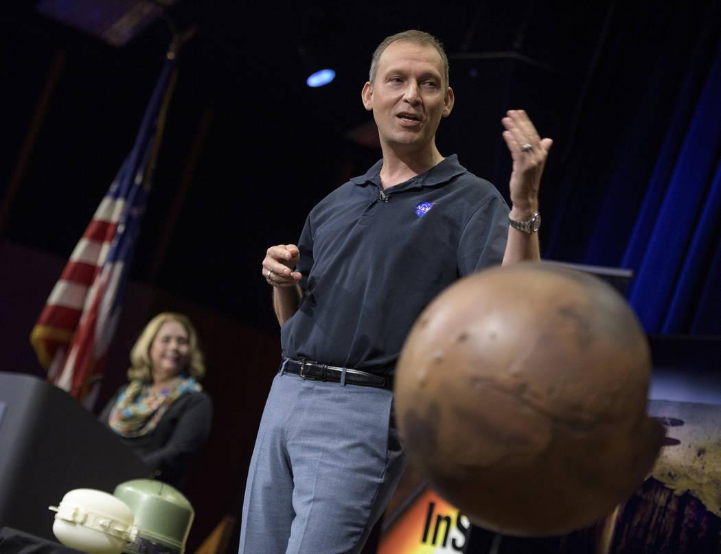 Thomas Zurbuchen, Associate Administrator of NASA's Science Mission Directorate, NASA Headquarters talks about Mars InSight during a pre-landing briefing, Sunday, Nov. 25, 2018 at NASA's Jet Propu ...
