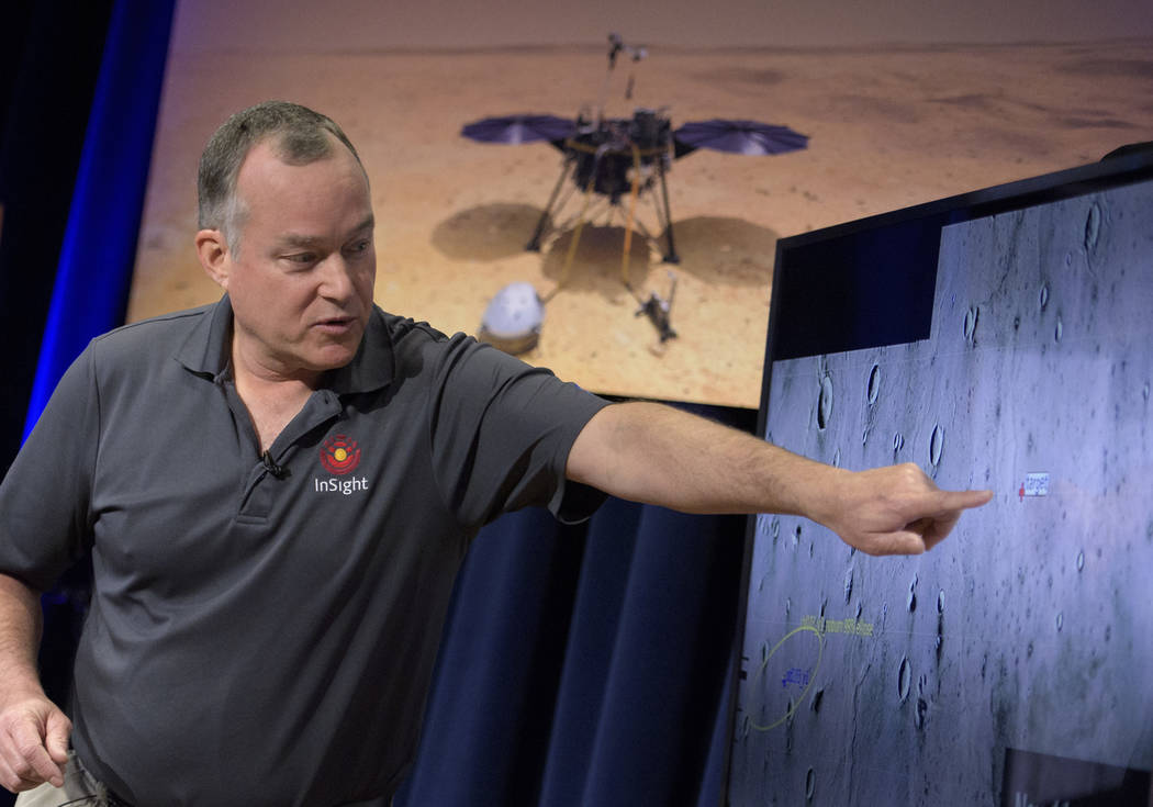 Tom Hoffman, InSight Project Manager, NASA JPL talks about the Mars InSight landing site during a pre-landing briefing, Sunday, Nov. 25, 2018 at NASA's Jet Propulsion Laboratory in Pasadena, Calif ...