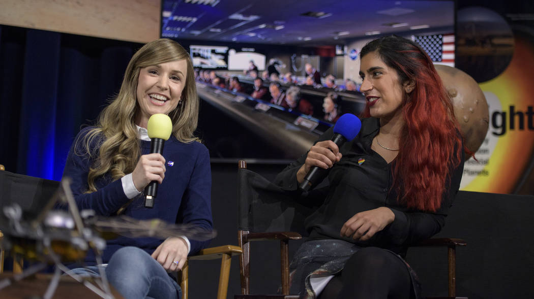 Aline Zimmer, left, EDL systems engineer with NASA's Jet Propulsion Laboratory, and Farah Alibay, payload systems engineer, talk about Mars InSight during a social media briefing Sunday, Nov. 25, ...