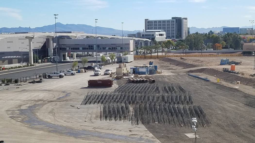 Rebar cages await installation at the Las Vegas Convention Center expansion site at Convention Center Drive and Paradise Road on Monday, Nov. 26, 2018. (Richard N. Velotta/Las Vegas Review-Journal ...