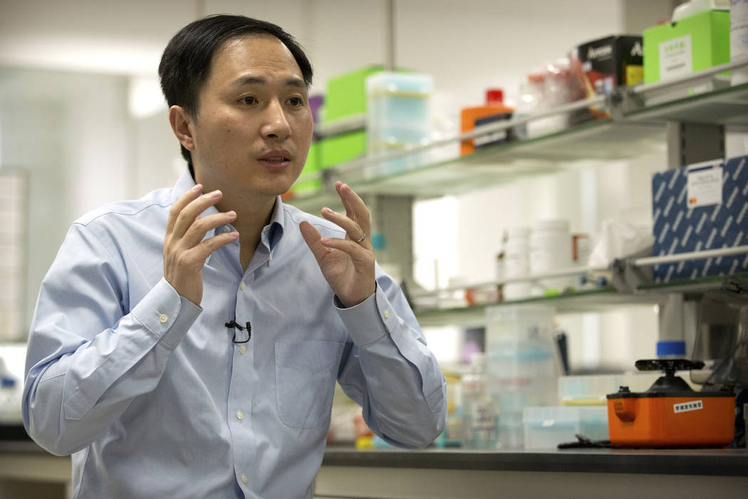 He Jiankui speaks during an interview at a laboratory in Shenzhen in southern China's Guangdong province, Oct. 10, 2018. The Chinese scientist claims he helped make world's first genetically edite ...