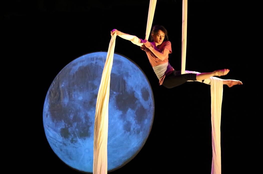 Cirque du Soleil performer, Sara Knauer, rehearses on the aerial silks for the new show 'Kinekt' at Summerlin Library on Monday, Nov. 26, 2019. Bizuayehu Tesfaye Las Vegas Review-Journal @bizutesfaye