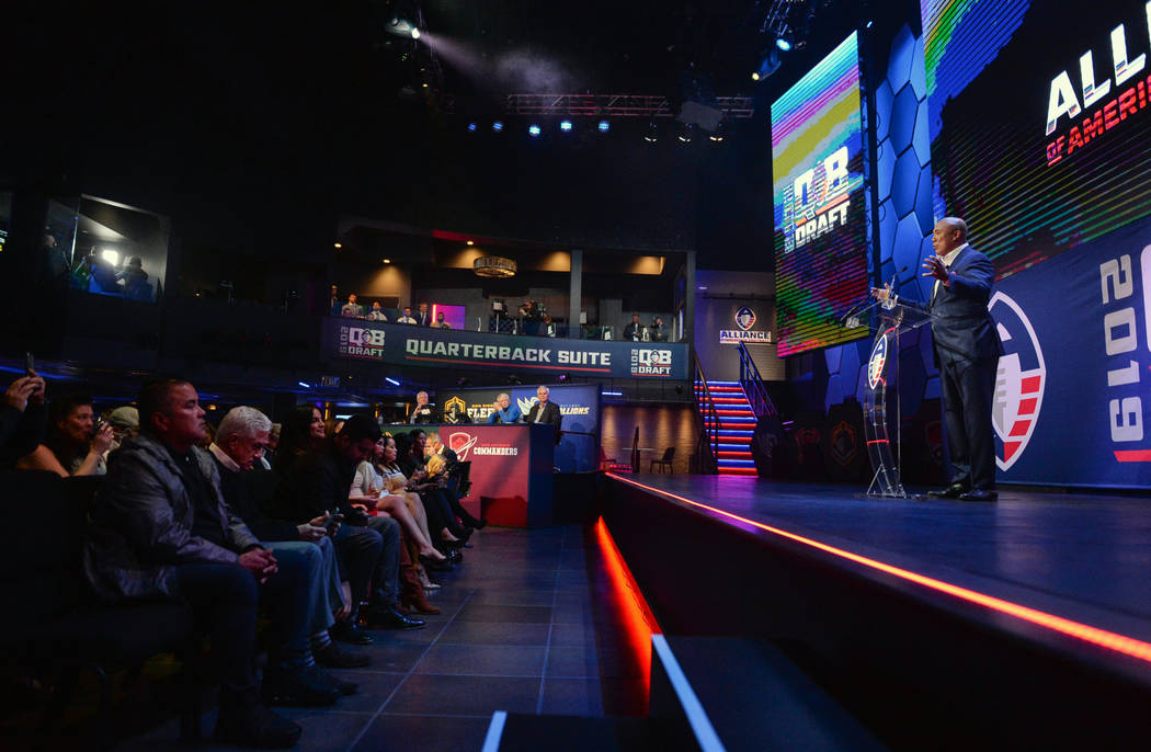 The Alliance of America Football (AAF) hosts its Quarterback Draft at the Luxor in Las Vegas, Tuesday, Nov. 27, 2018. Caroline Brehman/Las Vegas Review-Journal