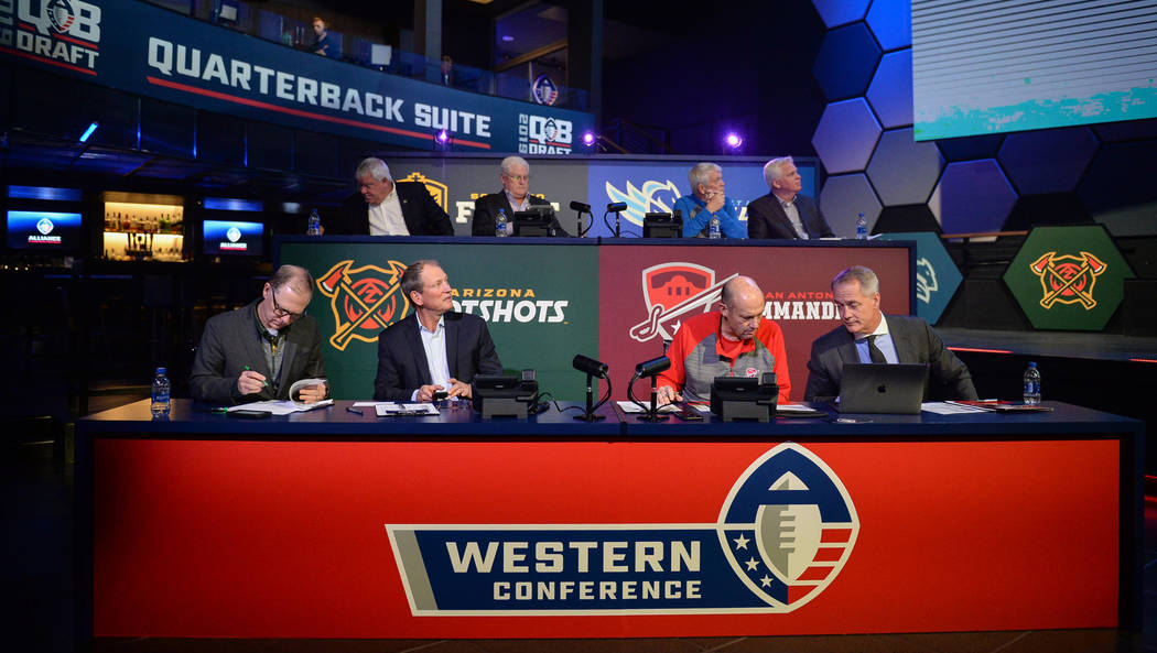 The Western Conference coaches watch as picks are made during the Alliance of America Football (AAF) Quarterback Draft at the Luxor in Las Vegas, Tuesday, Nov. 27, 2018. Caroline Brehman/Las Vegas ...