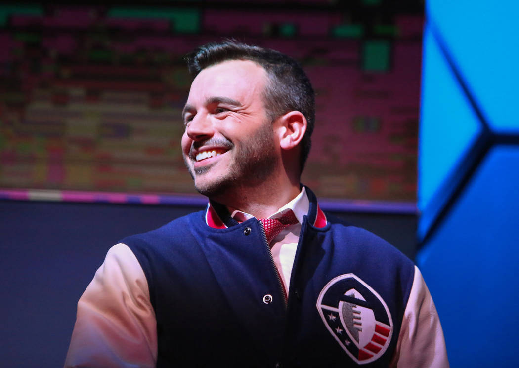 Charlie Ebersol, founder of the Alliance of American Football league, smiles while on stage during the AAF Quarterback Draft at the Luxor in Las Vegas, Tuesday, Nov. 27, 2018. Caroline Brehman/Las ...