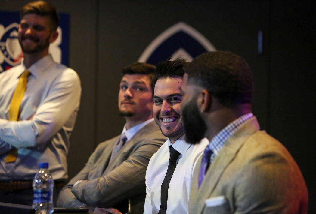 Mike Bercovici waits with the other football quarterbacks during the Alliance of America Football (AAF) Quarterback Draft at the Luxor in Las Vegas, Tuesday, Nov. 27, 2018. Caroline Brehman/Las Ve ...