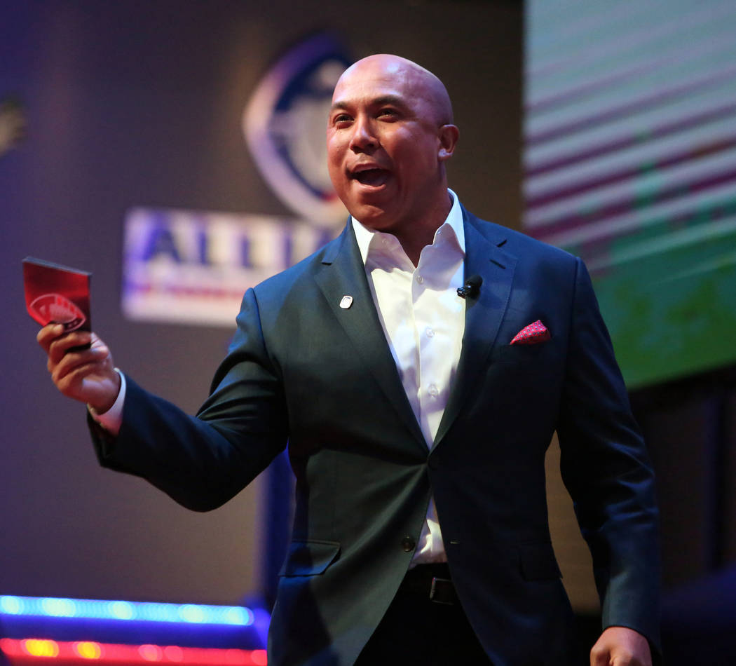Former Pittsburgh player Hines Ward speaks on stage during the Alliance of America Football (AAF) Quarterback Draft at the Luxor in Las Vegas, Tuesday, Nov. 27, 2018. Caroline Brehman/Las Vegas Re ...