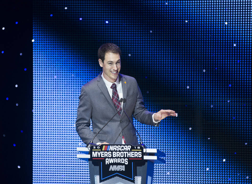Joey Logano addresses the crowd after receiving the Diamond Performance Award during the NASCAR NMPA Myers Brothers Awards at Encore Theater on Wednesday, Nov. 28, 2018, at Wynn Las Vegas, in Las ...