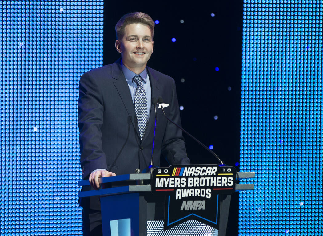 William Byron addresses the crowd after receiving the Rookie of the Year award during the NASCAR NMPA Myers Brothers Awards at Encore Theater on Wednesday, Nov. 28, 2018, at Wynn Las Vegas, in Las ...