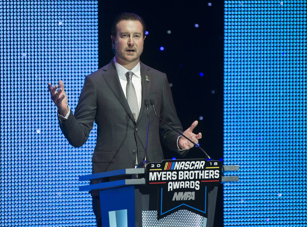 Kurt Busch addresses the crowd after receiving the Pole Award at the NASCAR NMPA Myers Brothers Awards at Encore Theater on Wednesday, Nov. 28, 2018, at Wynn Las Vegas, in Las Vegas. Benjamin Hage ...