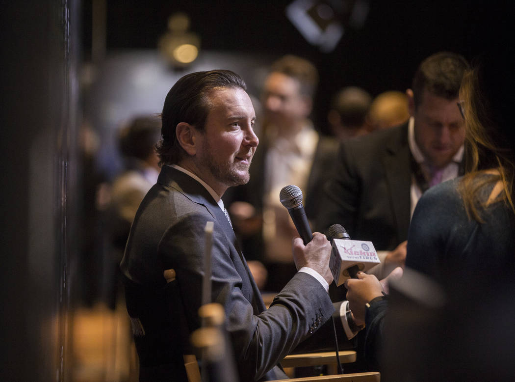 Driver Kurt Busch, left, speaks with the media after the NASCAR NMPA Myers Brothers Awards at Encore Theater on Wednesday, Nov. 28, 2018, at Wynn Las Vegas, in Las Vegas. Benjamin Hager Las Vegas ...