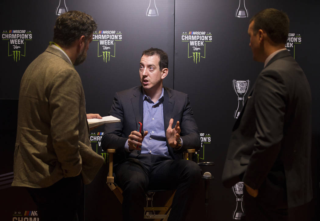 Driver Kyle Busch, middle, speaks with the media after the NASCAR NMPA Myers Brothers Awards at Encore Theater on Wednesday, Nov. 28, 2018, at Wynn Las Vegas, in Las Vegas. Benjamin Hager Las Vega ...
