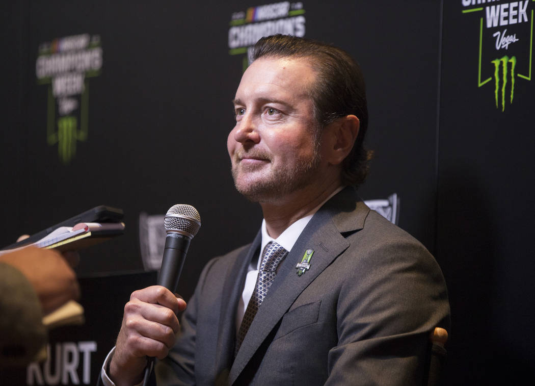Driver Kurt Busch speaks with the media after the NASCAR NMPA Myers Brothers Awards at Encore Theater on Wednesday, Nov. 28, 2018, at Wynn Las Vegas, in Las Vegas. Benjamin Hager Las Vegas Review- ...
