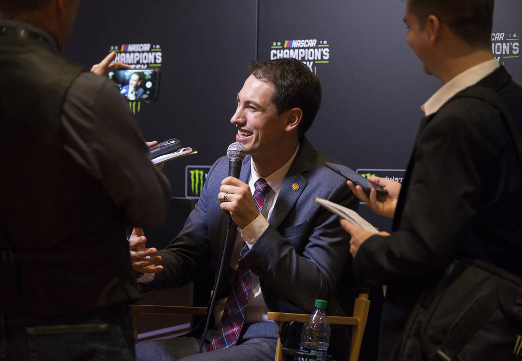 Driver Joey Logano, middle, speaks to the media after the NASCAR NMPA Myers Brothers Awards at Encore Theater on Wednesday, Nov. 28, 2018, at Wynn Las Vegas, in Las Vegas. Benjamin Hager Las Vegas ...